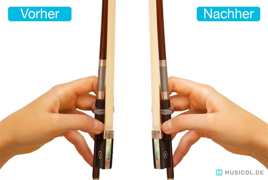 Bogen vor und nach dem Kolophonieren