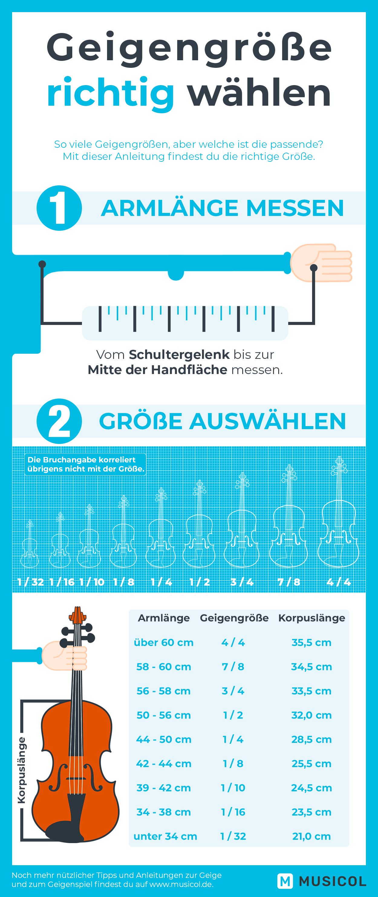 Um Geige erfolgreich zu lernen, muss man die richtige Geigengröße wählen. Noch mehr Anleitungen findest du auf Musicol.de.
