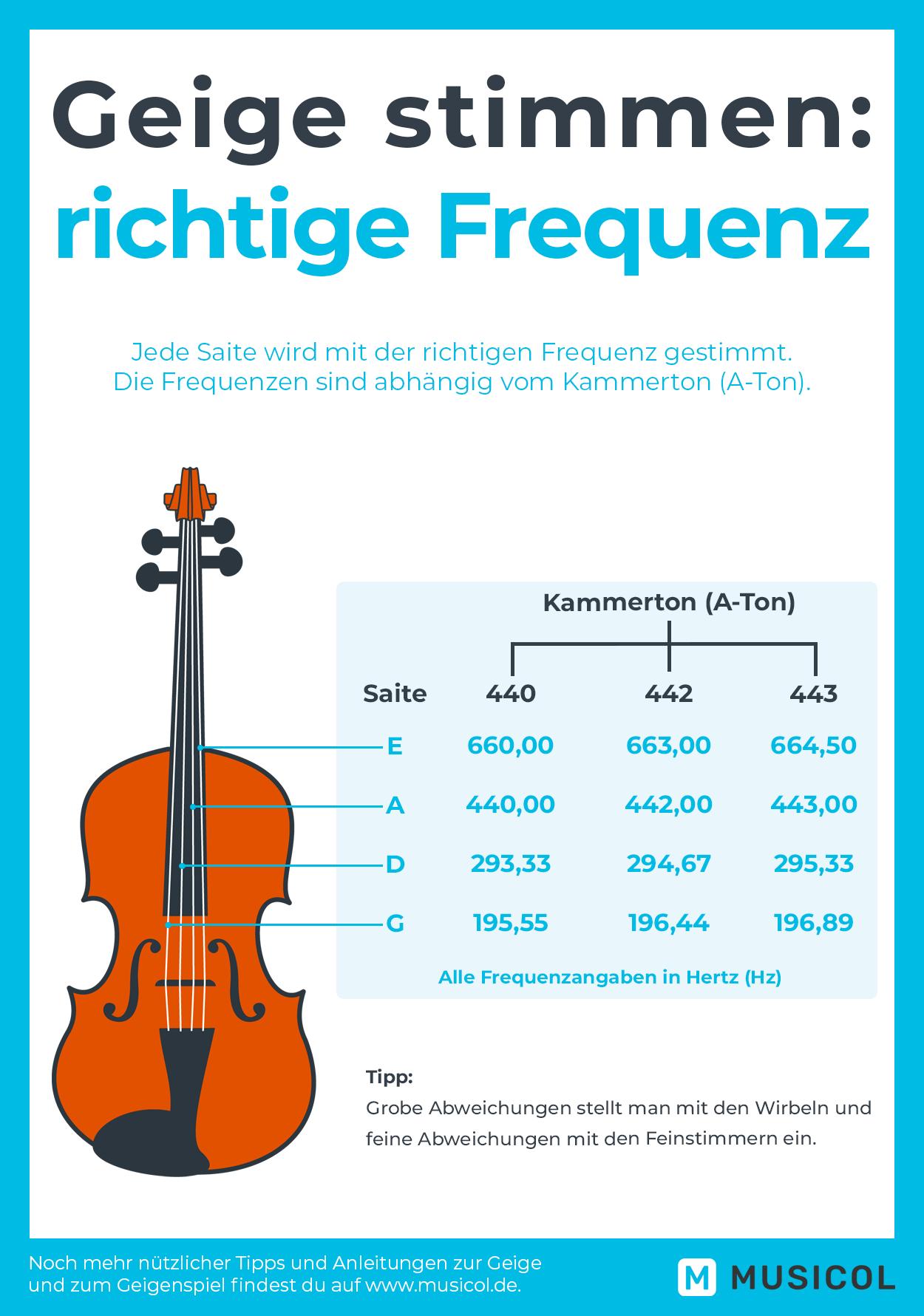 Geige lernen: Stimme deine Geige mit der richtigen Frequenz. Noch mehr Anleitungen findest du auf Musicol.de.