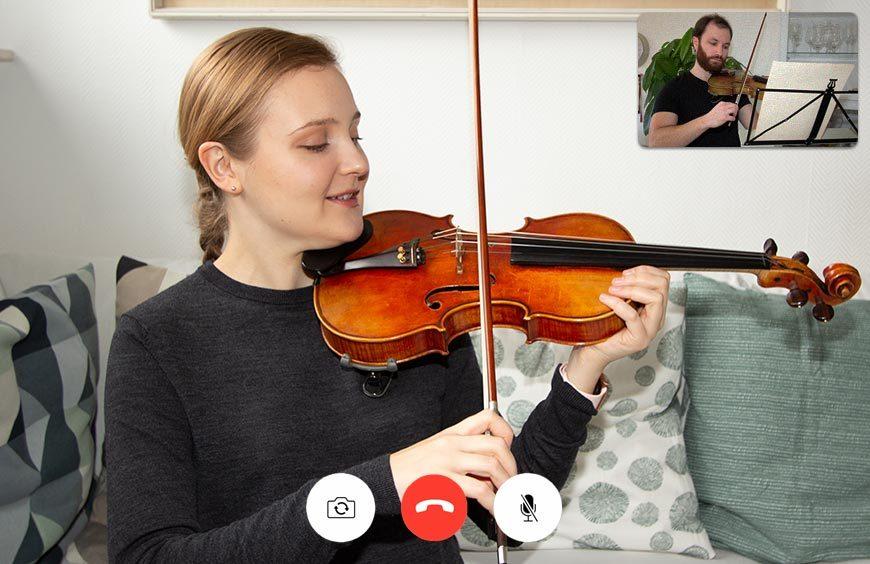 Geige lernen: Geigenunterricht kann man auch bequem von zuhause per Video bekommen auf Musicol.de