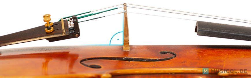 Die korrekte Position des Steges einer Geige