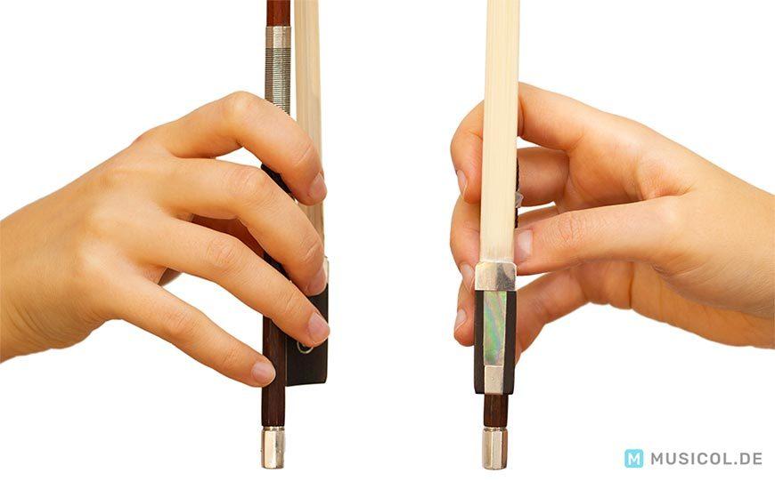 Geige lernen: Die Position aller Finger für eine korrekte Bogenhaltung